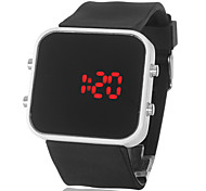 Unisex Red LED Square Mirror White Case Black Silicone Band Wrist Watch