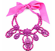 European (Droplet,0ctagon) Pink Crystal Pendant Necklace(Purple,Red) (1 Pc)