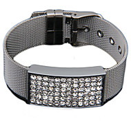 Men's Stainless Steel Crystal Rhinestone ID Bracelet