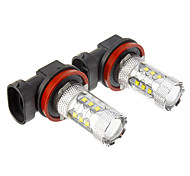 H8 80W 16xCree XB-D 800-850LM 6000K Cool White Light LED Bulb for Car (10-24V,2pcs)