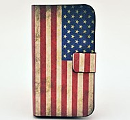 Vintage US Flag Pattern PU Leather Case with Magnetic Snap and Card Slot for Samsung Galaxy S3 mini I8190