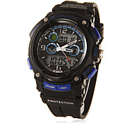 Men's Multi-Functional Analog-Digital Round Dial Rubber Band Wrist Watch (Assorted Colors)