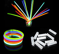 100PCS 6-color Mixed-color Fluorescent Bracelets Night Glow Stick(Random Color)