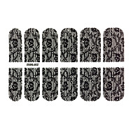 24PCS 2 Mixed Style Black&White Lace Full-Cover Nail Stickers