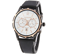 Men's Water Resistant Calendar Round Dial Rubber Band Quartz Analog Wrist Watch (Assorted Color)