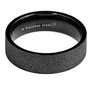Fashion Men'S Black Titanium Steel Band Ring(Black)(1 Pc)