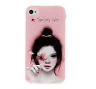 Spring Girl Pattern TPU Soft GEL Back Case Cover for iPhone 4/4S