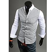 De manga larga con cuello en V de algodón camisas de hombre