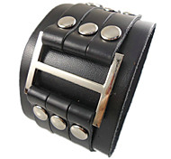 European 23.8Cm Men'S Black  Leather Bracelet(Black)(1 Pc)