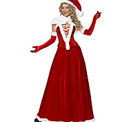 5 Pieces Santa Queen Red Velvet Christmas Costume