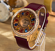 Women'S Water-Resistant Pu Leather Band Quartz Analog Dress Watch