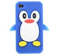 Pinguin-Muster zurück Fall Kieselgel (verschiedene Farben) + Home-Button-Aufkleber (gelegentliche Farbe) für iPhone 4/4S