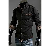 Man's White/Black Long Sleeve Cotton Shirts