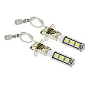 H3 6W 13x5060SMD 450LM 5500-6500K frío bombilla de luz blanca de LED para coche (12V, 2 unidades)