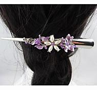 Fashion Beautiful Pearl Crystal Purple Hairpins for Women