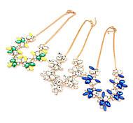 (1 pc) colorato strass gemma bohemien collana a forma di fiore per le donne