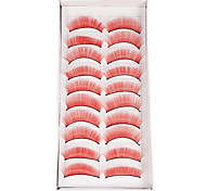 10Pcs False Eyelashes(Red)