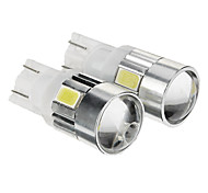T10 149 W5W 1W 6x5730SMD 80LM 6000K Cool White Light LED Bulb for Car (12-14V,2pcs)