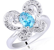 Butterfly Base Women 925 Sterling Silver Dress Ring With 4Mm X 6Mm Oval Zircon