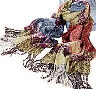 Plaid Big clássico fibra acrílica cinza + laranja + amarelo morno do inverno do xaile / lenço com borlas