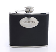 Personalized Father's Day Gift Black Curve 5oz PU Leather Capital Letters Flask