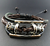 Vintage 17Cm Men'S Assorted Color  Leather Bracelet(Assorted Color)(1 Pc)