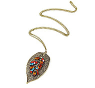 European and American vintage diamond jewelry diamond sweater chain necklace leaves N720