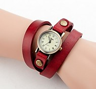 Women's Vintage Small Dial Long Strap Leather Band Quartz Analog Wrist Watch (Assorted Colors)