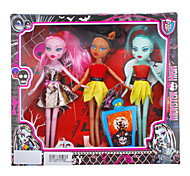 Fashion Girl 3pcs Zombie Barbie Doll with Dresses and Accessories (Random Color)