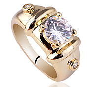 Men's Gold Plated Sterling Silver 925 Ring With 7mm Round Shape Zircon