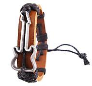 Vintage 17Cm Men'S Brown  Leather Bracelet(Hunter Green,Brown,Yellow,Black)(1 Pc)