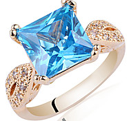 Yellow Gold Plated Sterling Silver Ring For Women With Princess Shape Zircon