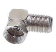 "F Male Plug to F Female Jack Right Angle Adapter Nickel 90 Degree Coaxial TV ""F"""