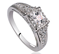 Women 925 Sterling Silver Promise Ring With Square Shape Zircon