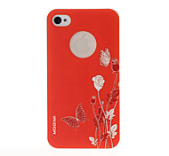 Flower and Butterfly Pattern Yellow Plastic Hard Case for iPhone 4/4S