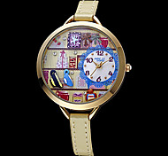 Frauen Schokolade Decor Runde Sache Rosa-Leder-Band-Armbanduhr Quarz Analog