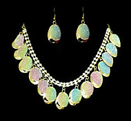 Beautiful Alloy Gold With Clear Rhinestone Women's Jewelry Set (Including Necklace,Earrings)