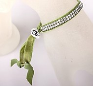 Two Rows Of Green Velvet CCB Buckle Bracelet