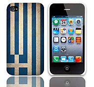 Vintage The Flag of Greece Pattern Hard Case with 3-Pack Screen Protectors for iPhone 4/4S