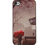 Lonely Red Umbrella in the Rain Pattern PC Hard Case with 3 Packed HD Screen Protectors for iPhone 4/4S