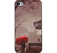 Einsamer Roter Regenschirm im Regen Muster PC Hard Case mit 3 Lunch HD Display-Schutzfolien für das iPhone 4/4S