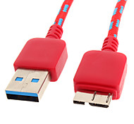 USB 3.0 to Micro USB 3.0 M/M Cable Net-Plated Red for Samsung Note 3(1M)