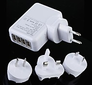 4 Port USB AC Adapter US EU UK AU Plug Wall Charger for iPhone 4/4S iPad 2/3