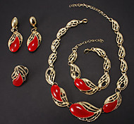 Fashion Gold Alloy (Necklace&Bracelet&Earrings&Ring) Jewelry Set(Pink,Blue And More)