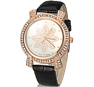 Women's Flower Pattern Round Dial PU Band Quartz Analog Wrist Watch (Assorted Color)