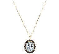Women's Rose Cover Vintage Alloy Quartz Necklace Watch