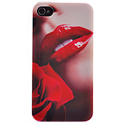 Erogenous Red Lip and Red Rose Pattern Transparent Frame Back Case for iPhone 4/4S