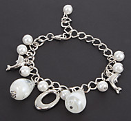 Fashion 22Cm Women'S Silver Alloy Charm Bracelet(White)(1 Pc)