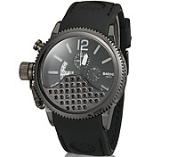 Men's Calendar Slide Rule Round Dial Silicone Band Quartz Analog Wrist Watch (Assorted Color)