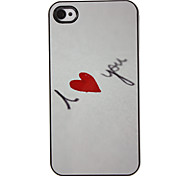 I Love You with Red Heart Pattern PC Hard Case with 3 Packed HD Screen Protectors for iPhone 4/4S